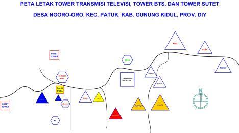 Posisi pemancar TV dan BTS di Desa NGORO-ORO, PATUK, GUNUNGKIDUL.