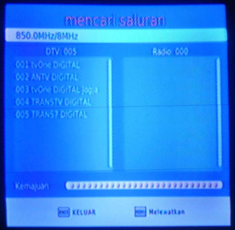 Daftar TV siaran digital yang tertangkap di rumah saya